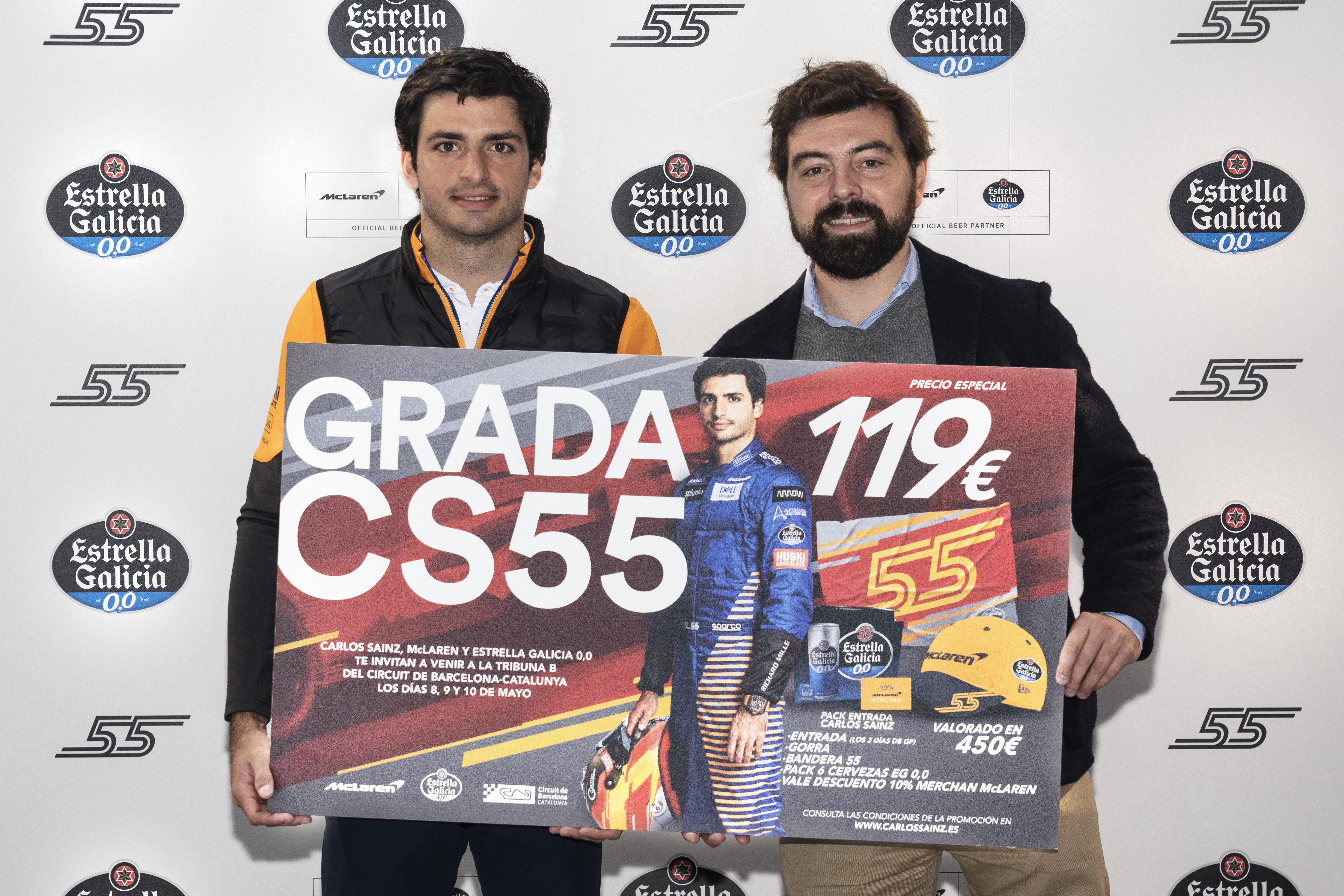 Carlos Sainz se reúne con la prensa en compañía de Estrella Galicia 0,0